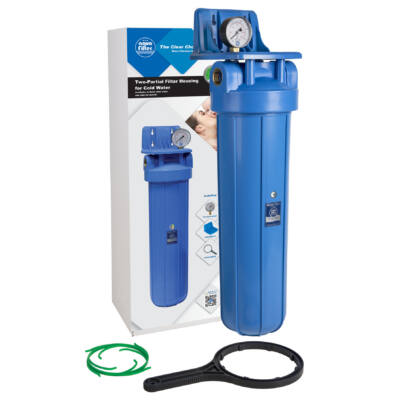 """Központi vízszűrő - 20""""-os Big Blue szűrőház, nyomásmérővel, konzollal"""