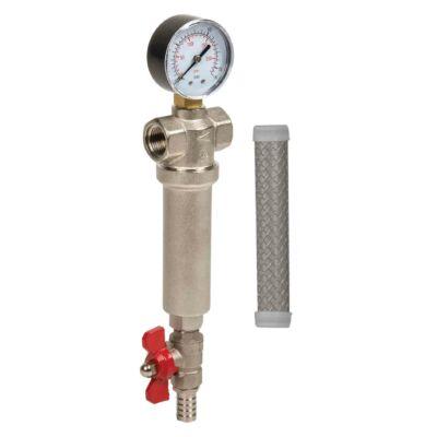 """Szűrőház - meleg vízre, nyomásmérővel, leeresztő csappal, 1/2""""-1"""""""